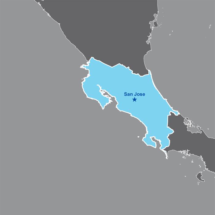 Costa Rica is located in Central America