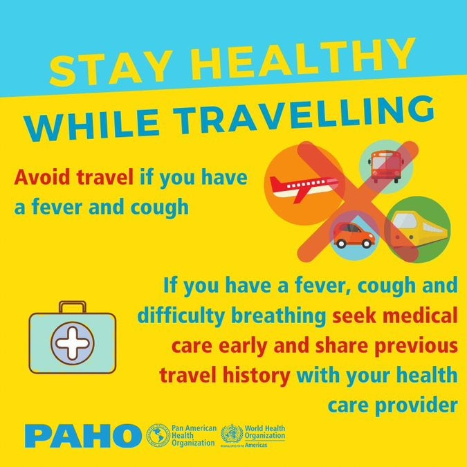 Social Media Postcard: Stay healthy while traveling- Avoid travel