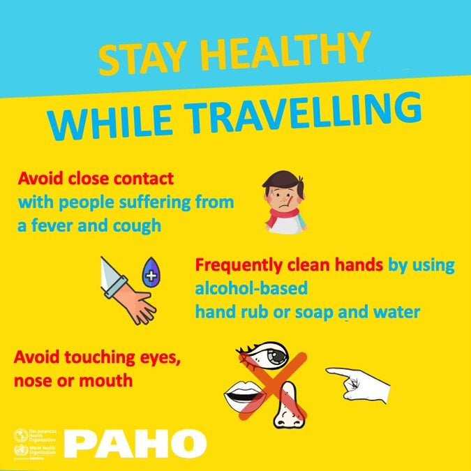 Social Media Postcard: Stay healthy while traveling- Avoid close contact