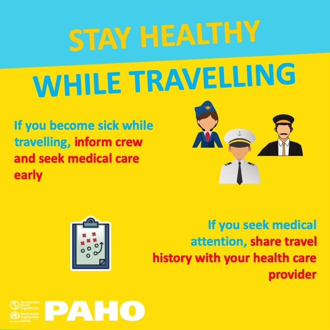 Social Media Postcard: Stay healthy while traveling- Inform crew and seek medical care early