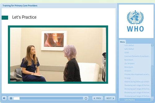 "The WHO e-Learning course ""Training for primary care providers: brief tobacco interventions"""
