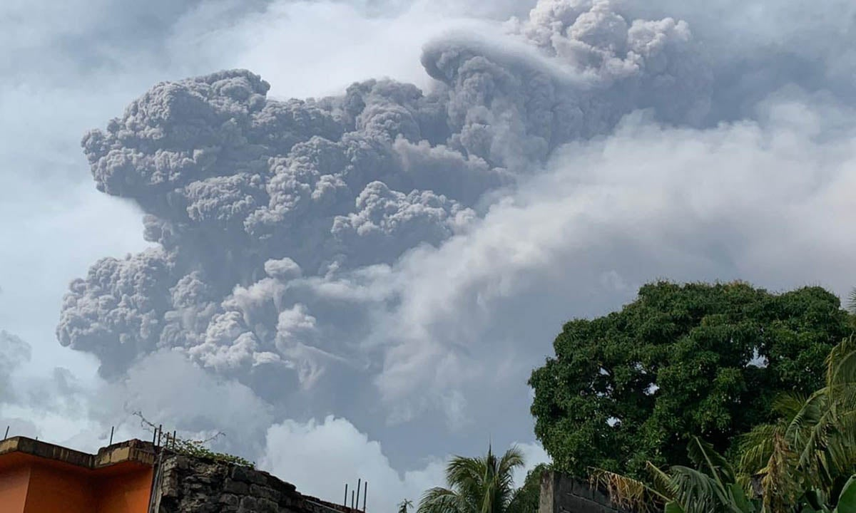 Eruption of volcano in St. Vincent and the Grenadines