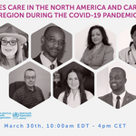 Card showing the photos of the speakers to the webinar Diabetes Care during the COVID-19 era in the IDF North American and Caribbean (NAC) region