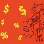 Illustration showing a rain of $ yellow signs and lineal drawings of packaged drinks (soda, chocolate milk, yougurt, juice) in a red background