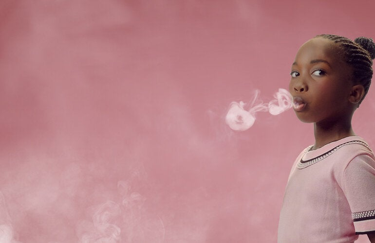 Little girl smoking