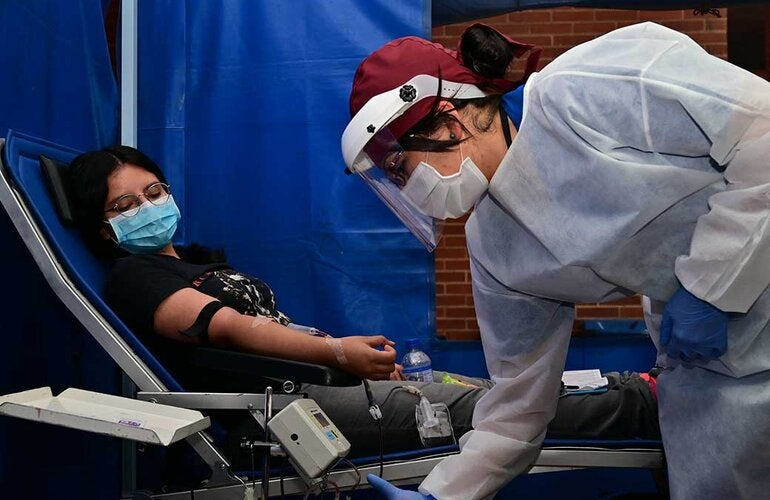 Blood donor in Colombia