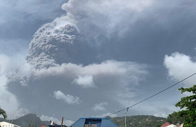 Eruptions of Volcano La Soufriere