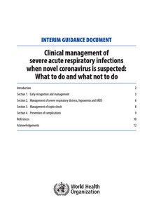 Clinical management of severe acute respiratory infections when novel coronavirus is suspected