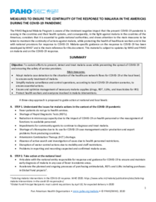Measures to ensure the continuity of the response to malaria in the Americas during the COVID-19 pandemic