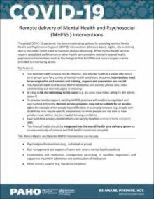 Remote Delivery of MHPSS (Mental Health and Psychosocial) Interventions