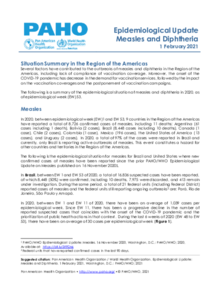 Epidemiological Update: Measles and Diphtheria - 1 February 2021