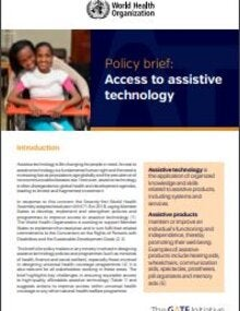 Cover of Policy brief: access to assistive technology, showing the photo of two girls, one embraing the other from the back, the second one seated on a wheel chair