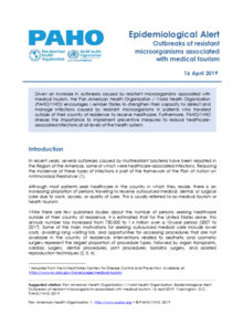 16 April 2019 - Epidemiological Alert on Outbreaks of resistant microorganisms associated with medical tourism