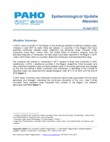 18 April 2019: Measles - Epidemiological Update