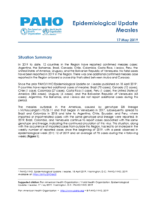 17 May 2019 - Epidemiological Update on Measles