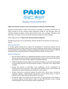 Concept Note: Support and Reference Document on the General Guidelines for Mosquito Awareness Week 2020