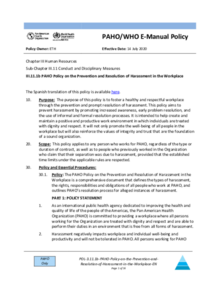 PAHO Policy on the Prevention and Resolution of Harassment in the Workplace