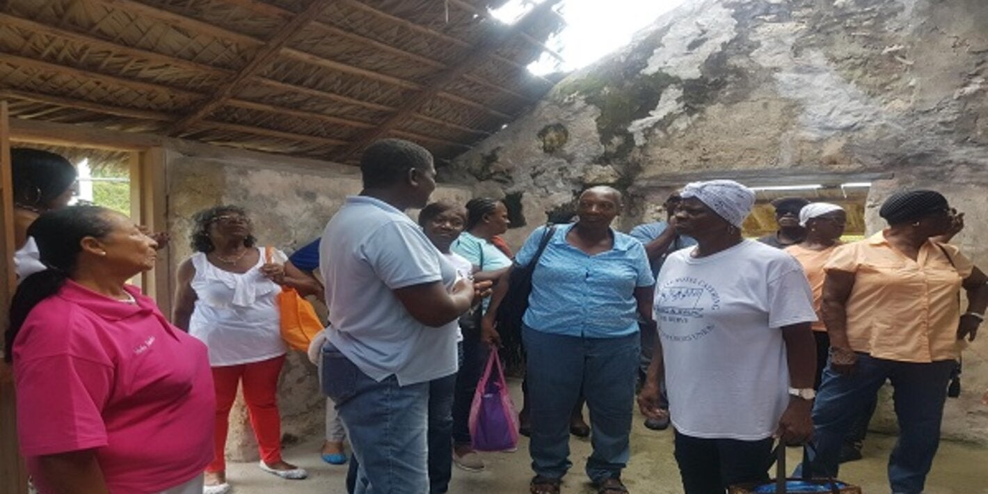 Elderly residents tour a slave ruin during their wellness walk.