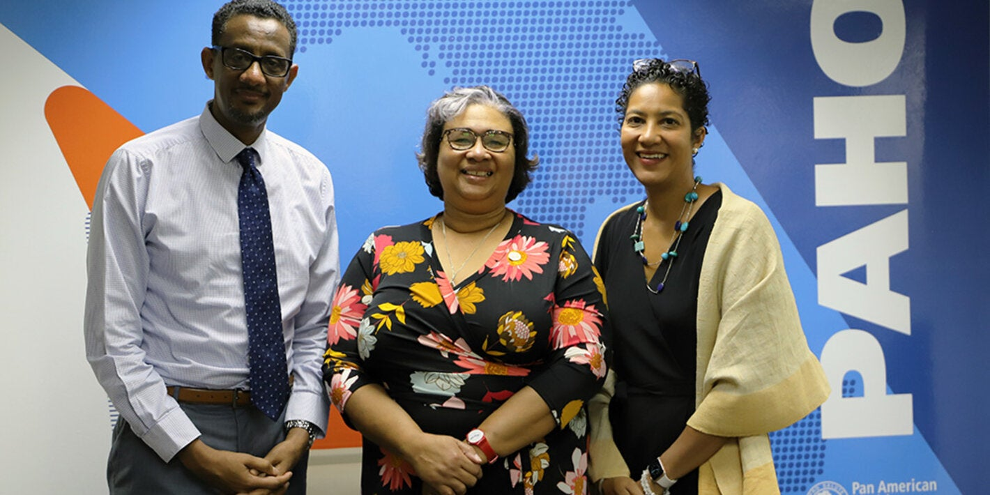 From left, Dr Yitades Gebre, PAHO/WHO Representative for Barbados and the Eastern Caribbean Countries, Dr Joy St John, Executive Director, Caribbean Public Health Agency and Mrs Jessie Schutt-Aine, Sub-Regional Program Coordinator, Caribbean
