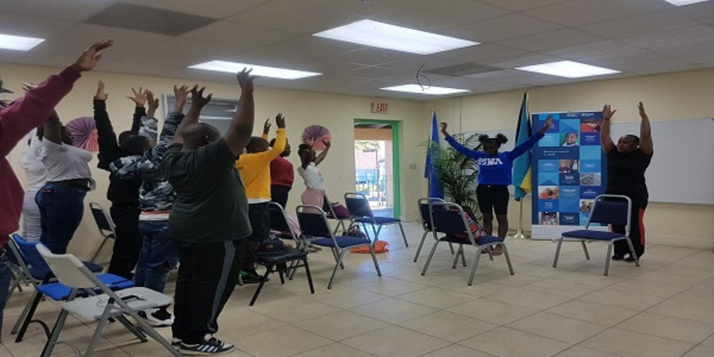 Teen exercise segment led by the Healthy Bahamas Coalition.