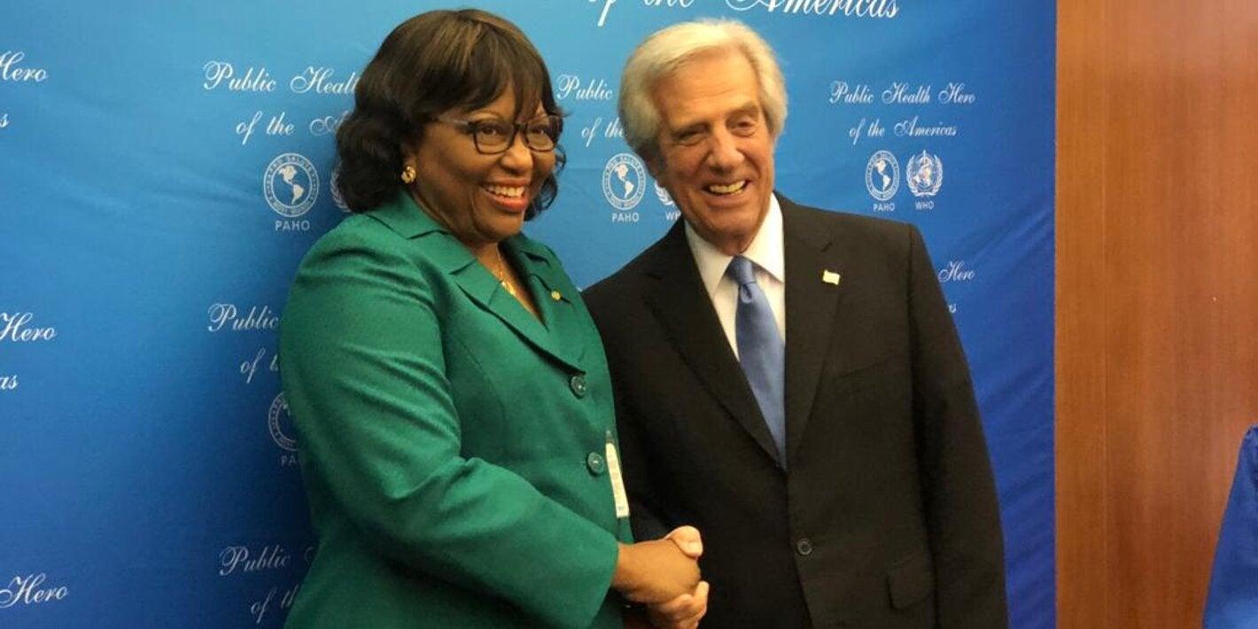 Carissa F. Etienne felicita al expresidente de Uruguay Tabaré Vázquez