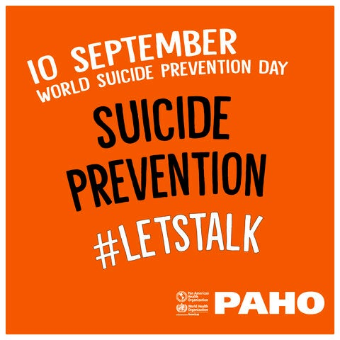 Graphic card with orange background about Suicide Prevention Day
