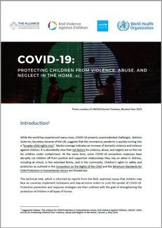 COVID-19: Protecting Children from Violence, Abuse and Neglect in the Home