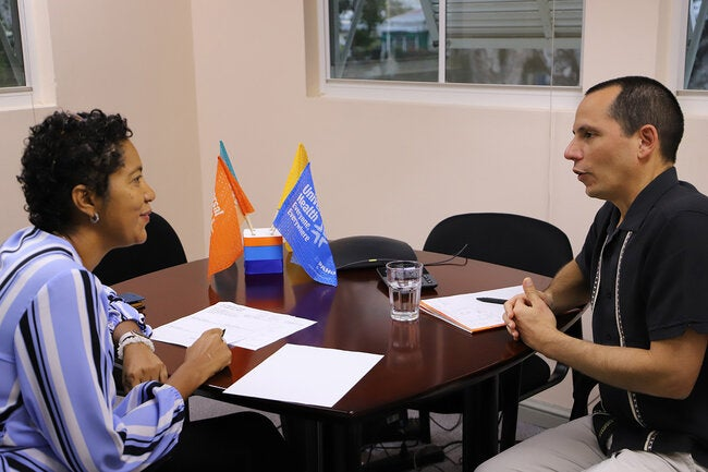 Dr Gresh and Mrs Jessie Schutt-Aine, Subregional Program Coordinator, Caribbean.