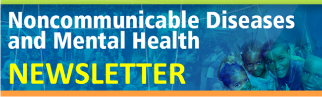 "horizontal banner with a background of people doing healthy actions in blue tones and the words ""Noncommunicable diseases and Mental Health Newsletter"""