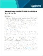 Mental health and psychosocial considerations during the COVID-19 outbreak