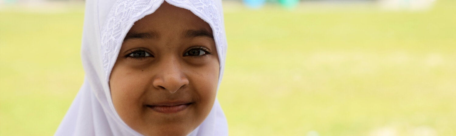 Close up of little girl with a hijab